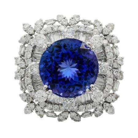 8.19ct DARK Tanzanite and 2.72ctw Diamond 18KT White Gold Ring (GIA CERTIFIED)