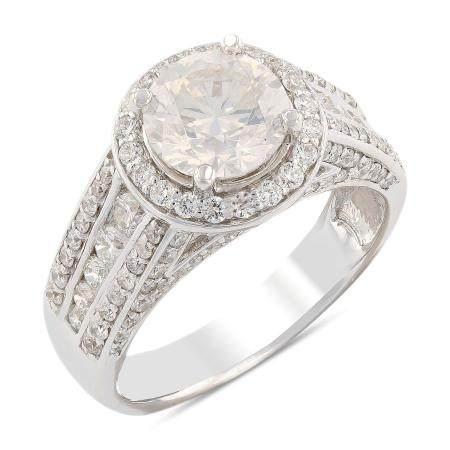 1.63ct SI3 CLARITY CENTER Diamond 18KT White Gold Ring (2.79ctw Diamonds)