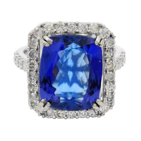 7.71ct Tanzanite and 1.17ctw Diamond 14KT White Gold Ring (GIA CERTIFIED)
