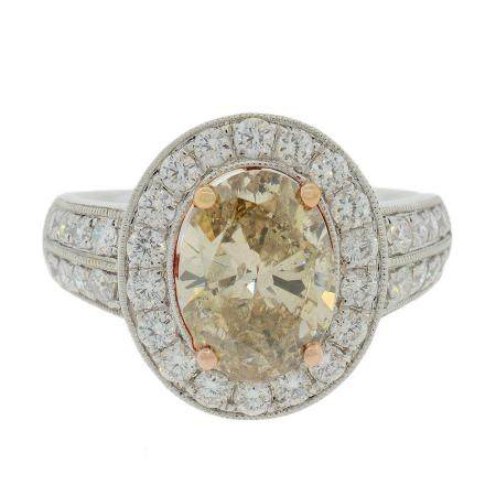 1.94ct LIGHT BROWN CENTER Diamond Platinum Ring (2.72ctw Diamonds)