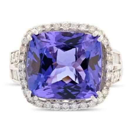 10.39ct Tanzanite and 1.42ctw Diamond 18KT White Gold Ring