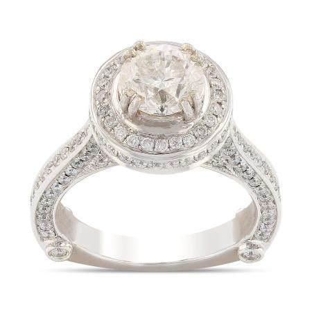 1.50ct CENTER Round Cut Diamond 14KT White Gold Ring (2.62ctw Diamonds)