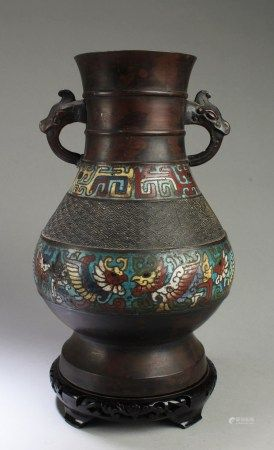 A Cloisonne vase with Wooden stand