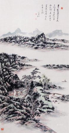 A Chinese Scroll Painting By Huang Binhong