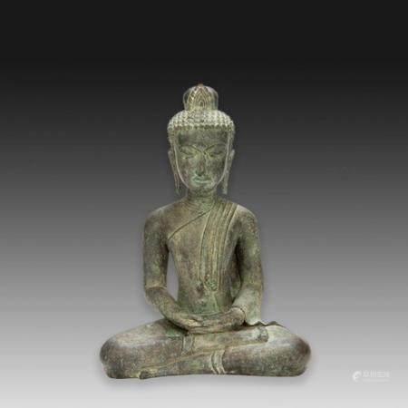 GRANDE STATUETTE DE BOUDDHA SHAKYAMUNI  en bronze de patine sombre jas