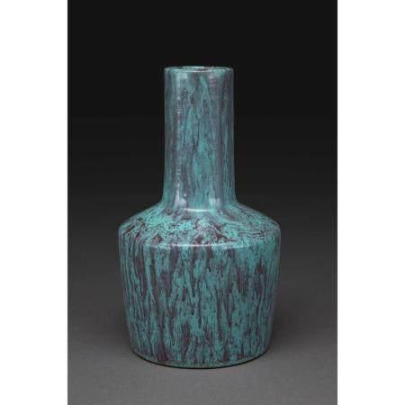 PETIT VASE MAILLET LUJUNYOU  en porcelaine à couverte bleu-vert avec c