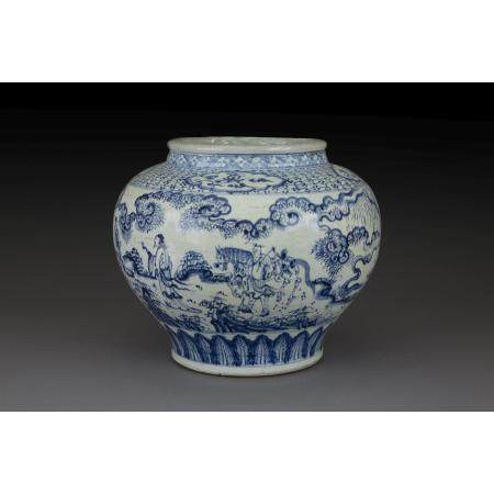 GRANDE JARRE GUAN DE STYLE MING  en porcelaine et bleu de cobalt sous