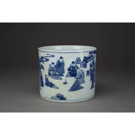POT À PINCEAUX BIHAI  en porcelaine, à décor en bleu sous couverte, su