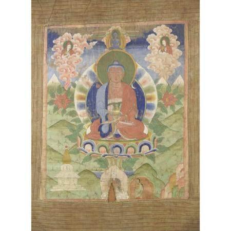 THANGKA VERTICAL  peint à l'encre et à la détrempe sur toile fine, rep