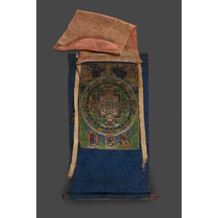 PETIT THANGKA   peint en couleurs sur textile, représentant le mandala