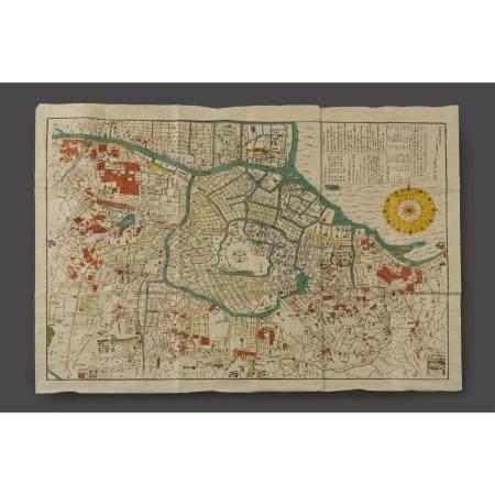 PLAN DE LA VILLE D'EDO EN 1771  en couleurs, centrée du mon des Toguka