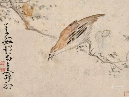 黄慎 1687~1768 (款) 鸟栖高枝