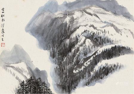 何海霞 1908~1998  雪山松影