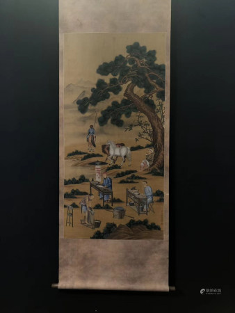 Chinese Painting Of Man And Horse On Silk - Lang Shining In Qing Dynasty