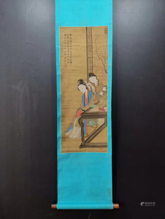 Chinese Ming Dynasty Vertical Scroll Of Painting On Silk - Tang Yin
