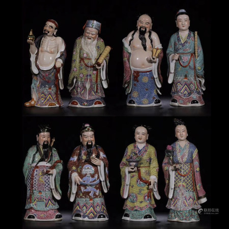 Eight Famille Rose Porcelain Figures of Immortals
