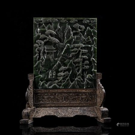 Chinese Carved Green Jade and Zitan Wood Table Screen