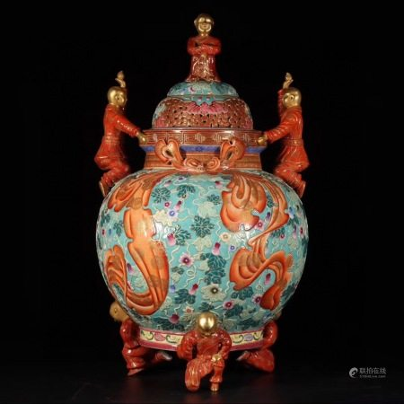 Turquoise-Ground Gilt & Red Decorated Porcelain Censer