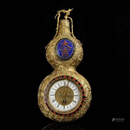 Gilt Bronze Double Gourd Form Wall Clock