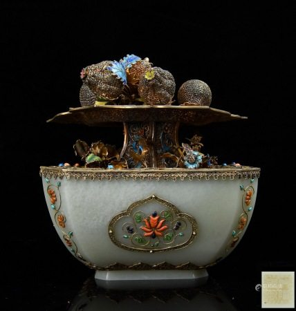 Very Fine Gem And Filigree Inlaid White Jade Jardiniere