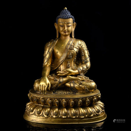 Large Very Finely Cast Gilt-Bronze Figure of Buddha