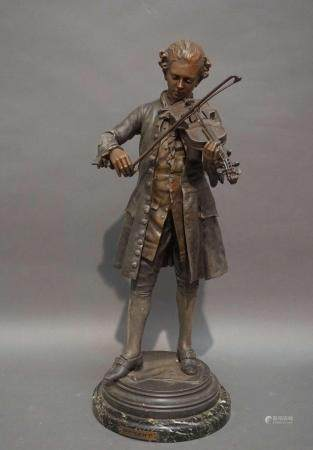 """Sculpture en régule """"Mozart"""". H : 50 cm"""