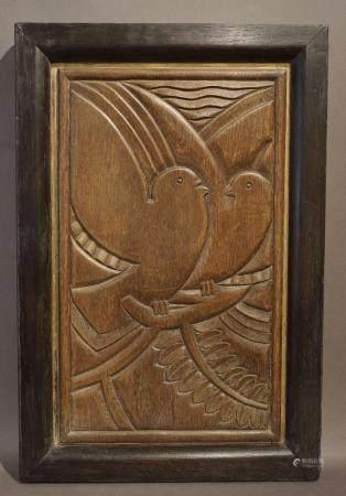 """Bas-relief en bois sculpté """"Couple d'oiseaux"""". 68x45 cm"""