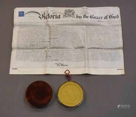 Grand sceau de cire jaune au nom de la Reine Victoria d'Angleterre. Dans sa boite en métal. Acc