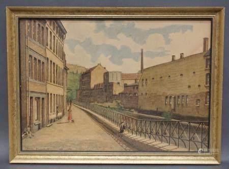 """Lithographie signée Pierre Koumoth """"Rives de la Vesdre, vue du pont des Récollets"""". Datée 1941."""