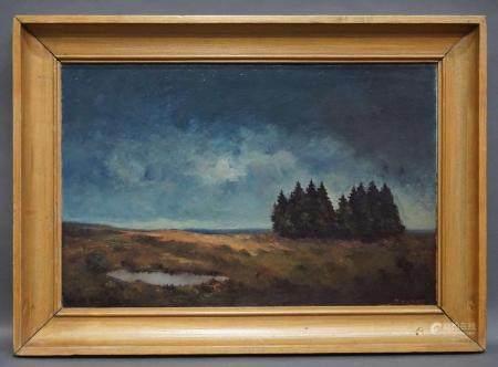 """Huile sur unalit signée Thunus """"Fagnes"""". 78x52 cm"""