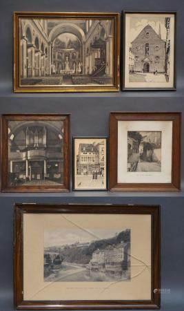 """6 gravures signées Pierre Koumoth """"Vues de Verviers"""".  Accidents à quelques verres d'encadremen"""