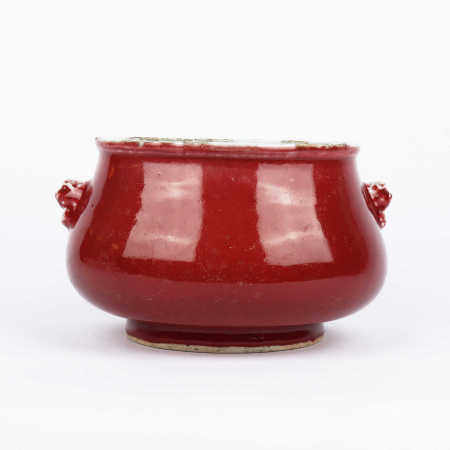Double lion ear furnace with red glaze of ox blood in the middle of Qing Dynasty