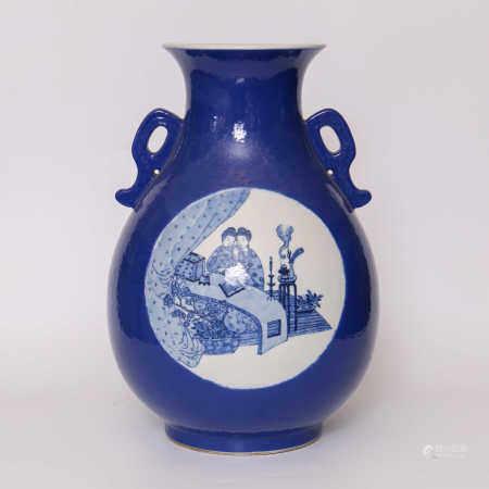 Figure flower ornament with seasonal blue glaze