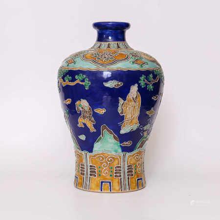 Plum vase decorated with seasonal blue glaze and famille rose