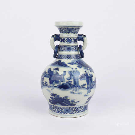 Double eared bottle decorated with blue and white figures in Qianlong period of Qing Dynasty
