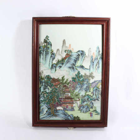 Porcelain plate paintings with pastel landscape patterns in the middle of Qing Dynasty