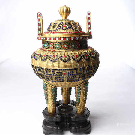 Bronze gilded wire pinching enamel inlaid treasure with two ears and three feet