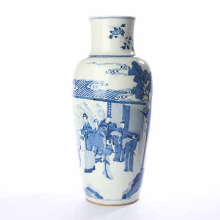 Straight mouth bottle with blue and white figures