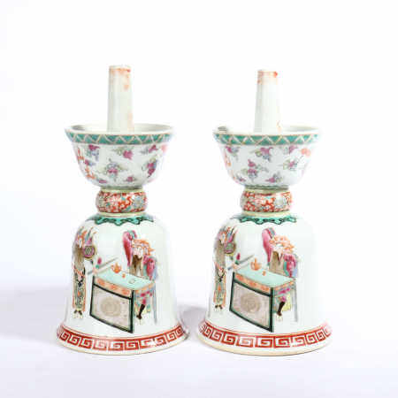 A pair of candlesticks with pastel colors, swords and horses in the late Qing Dynasty