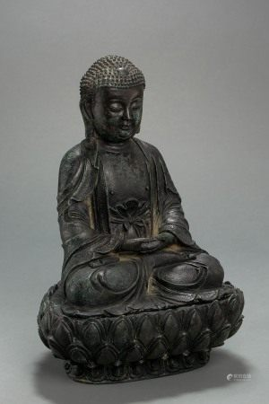 ANCIENT CHINESE BRONZE BUDDHA STATUE