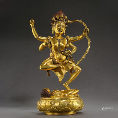 ANCIENT TIBETAN GILT BRONZE BUDDHA STATUE
