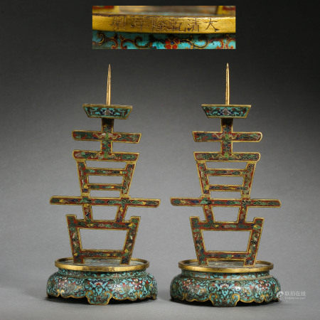 A GROUP OF ANCIENT CHINESE CLOISONNE LAMPSTANDS