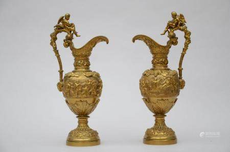A pair of large bronze ewers 'bacchanal scenes' (58cm)