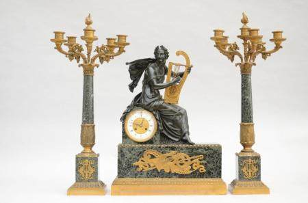 Three-piece clock set in bronze and marble by Van Crombruggh