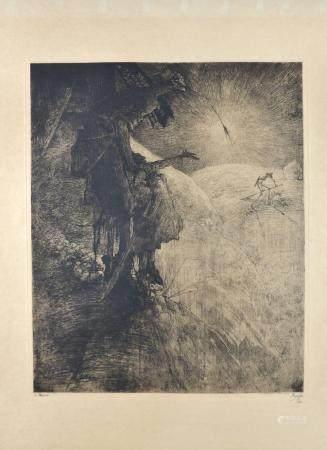 Jules De Bruycker: copper engraving 'la moisson' (43x53cm)