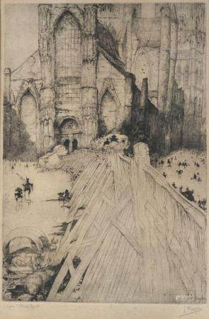 Jules De Bruycker: two etchings 'Sint-Niklaaskerk' and 'Cath