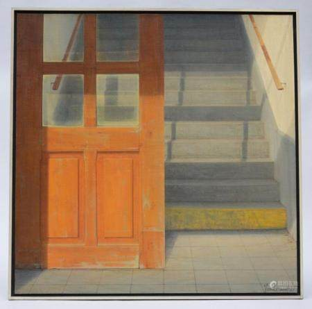 Vandermoeren: painting (o/c) 'stairs' (80x80cm)
