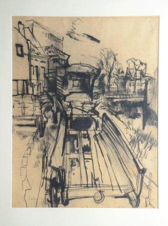 Lismonde: charcoal drawing 'city view' (67x84cm)