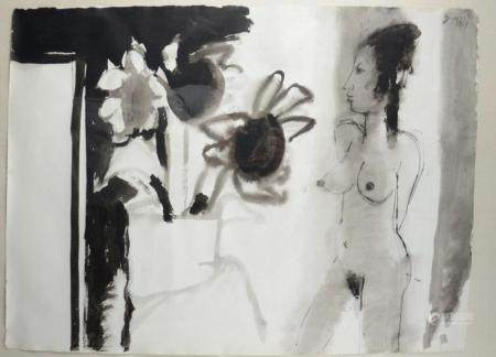 Somville R .(1967): drawing 'nude' (98x77cm)