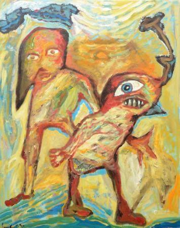 Lucebert: painting (o/c) 'Doktor Schmuss mit Vˆgel Roc' (67x